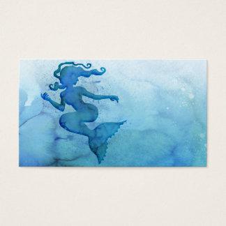 Sirène bleue d'aquarelle cartes de visite