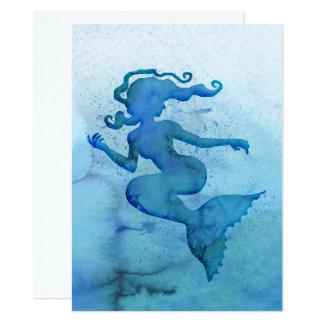 Sirène bleue d'aquarelle carton d'invitation  13,97 cm x 19,05 cm