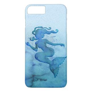 Sirène bleue d'aquarelle coque iPhone 8 plus/7 plus