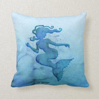 Sirène bleue d'aquarelle coussins carrés