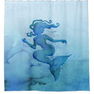 Sirène bleue d'aquarelle rideaux de douche