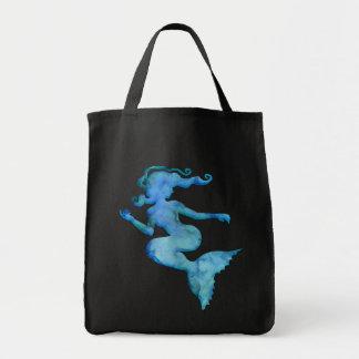 Sirène bleue d'aquarelle sac en toile épicerie