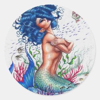 Sirène bleue sticker rond