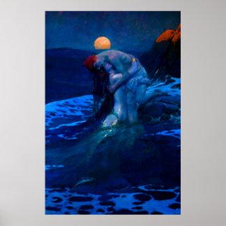 Sirène dans l'affiche de clair de lune