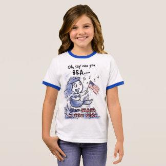 Sirène dans le T-shirt de filles des Etats-Unis