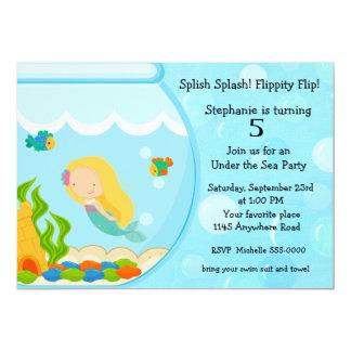 Sirène dans un anniversaire de cuvette de poissons carton d'invitation  12,7 cm x 17,78 cm