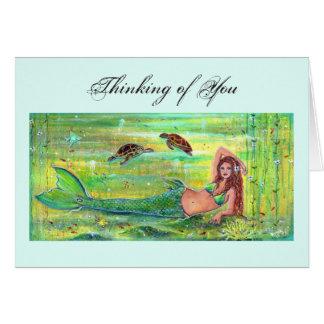 Carte Sirène de calypso avec la carte de tortues de mer
