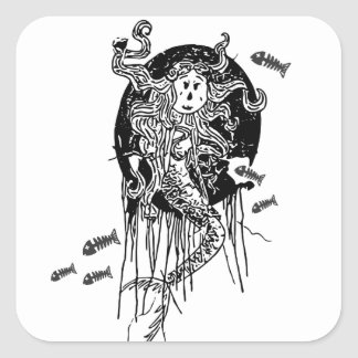 Sirène de Halloween Sticker Carré