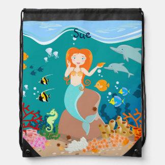 Sirène et fête d'anniversaire de dauphins sac avec cordons