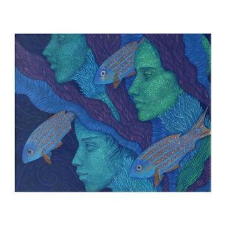 Sirènes et poissons, art surréaliste d'imaginaire,