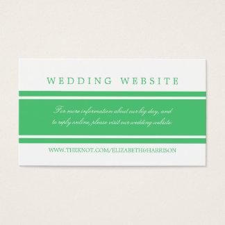 Site Web moderne de mariage de vert vert Cartes De Visite