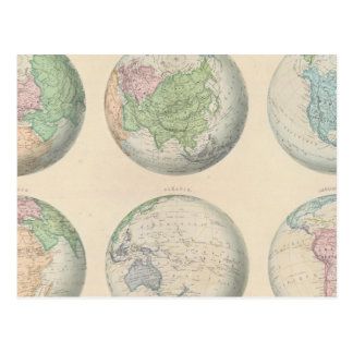 Six cartes hémisphériques du monde