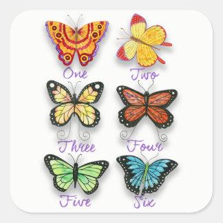 Six papillons Artsy colorés avec des mots de Sticker Carré