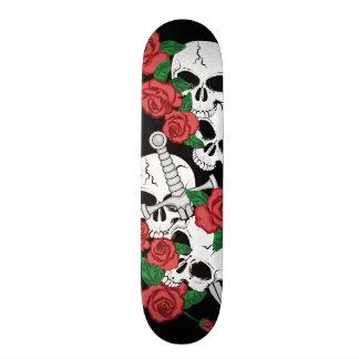 Skateboard 21,6 Cm Crânes et roses