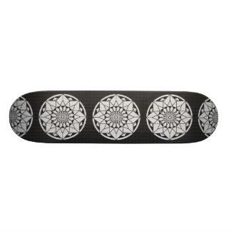 Skateboard 21,6 Cm Noir et blanc de tricotage de mandala d'étoile