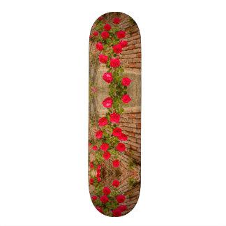 Skateboard Old School 21,6 Cm les roses s'élèvent sur un mur de briques sur la