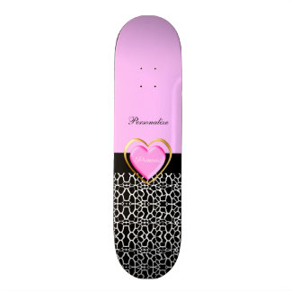 Skateboards Cutomisables Princesse noire rose Girly Giraffe Print et nom