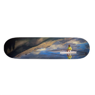Skateboards Un rameur sur le lac Banff dans M. du Canada)