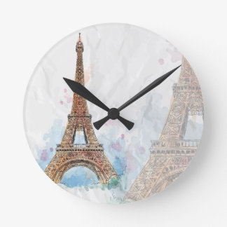 Sketched a coloré idée de Paris de Tour Eiffel la Horloge Ronde