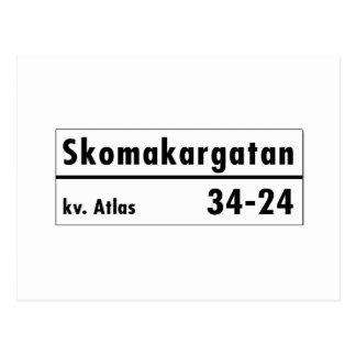 Skomakargatan, Stockholm, plaque de rue suédoise Carte Postale