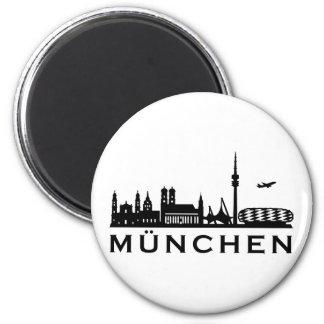 Skyline Munich Magnet Rond 8 Cm