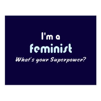 Slogan féministe de super pouvoir cartes postales