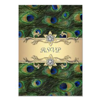 Smaragdgroene Gouden Koninklijke Indische Pauw 8,9x12,7 Uitnodiging Kaart