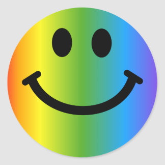 Smiley d'arc-en-ciel adhésif rond