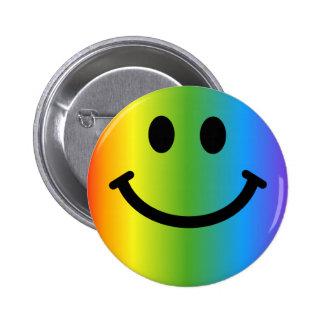 Smiley d'arc-en-ciel badge rond 5 cm