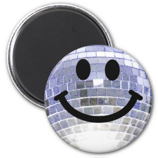 Smiley de boule de disco magnet rond 8 cm
