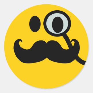 Smiley de monocle et de moustache (backgrnd autocollant rond