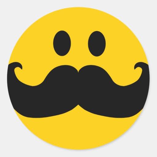 Smiley de moustache (couleur personnalisable d'arr adhésif rond