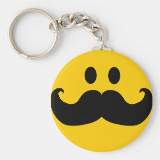 Smiley de moustache (couleur personnalisable d'arr porte-clé rond
