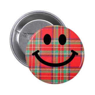 Smiley d'écossais de tartan badge rond 5 cm