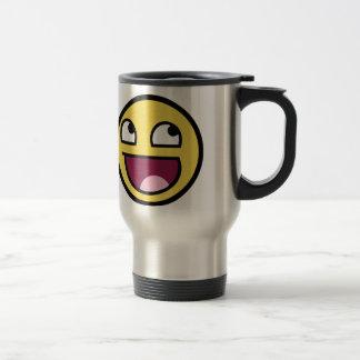 Smiley impressionnant de visage mug de voyage en acier inoxydable
