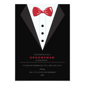 Smoking et carte rouge de demande de Groomsman de Carton D'invitation 12,7 Cm X 17,78 Cm