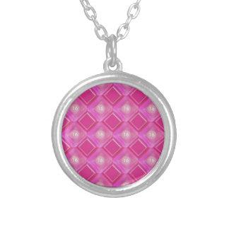 Snoepje 16, het Roze Aantal van Diamanten Ketting Rond Hangertje