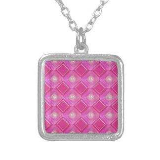 Snoepje 16, het Roze Aantal van Diamanten Ketting Vierkant Hangertje