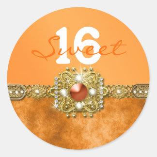 """""""snoepje zestien"""" oranje gouden verjaardag 16 ronde stickers"""