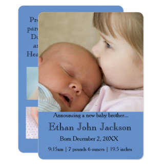 Soeur annonçant le bleu de la naissance du frère carton d'invitation  12,7 cm x 17,78 cm