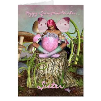 Soeur - carte de Pâques féerique de printemps -
