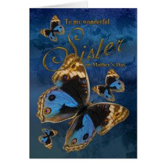 Soeur, carte du jour de mère avec des papillons