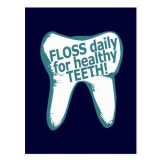 Soie quotidienne pour les dents saines ! carte postale