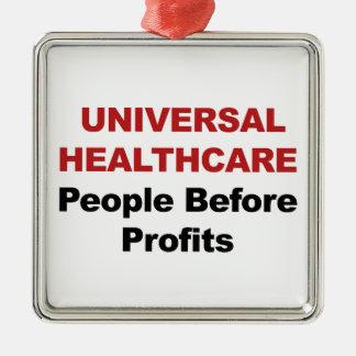 Soins de santé universels ornement carré argenté