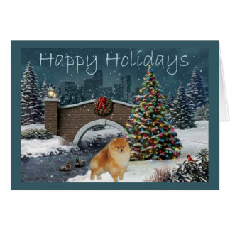 Soirée de carte de Noël de Pomeranian