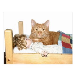 Soirée pyjamas de chat cartes postales