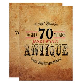 Soixante-dixième anniversaire d'antiquité carton d'invitation  12,7 cm x 17,78 cm