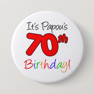 Soixante-dixième bouton grec de grand-papa de fête badge rond 7,6 cm