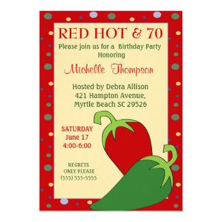 Soixante-dixième invitations d'un rouge ardent
