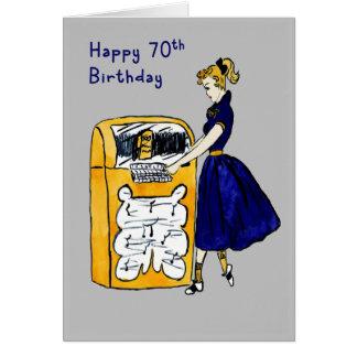 soixante-dixième Juke-box et Madame de carte
